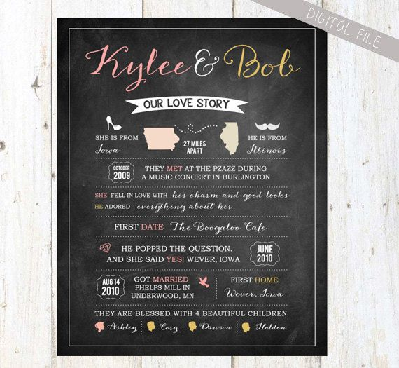 Our Love story chalkboard sign - Printable save the date poster - Anniversary gift for wife - DIGITAL FILE!