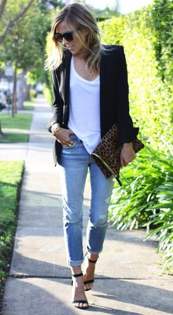 Cute Blazer, White Tee, Distressed Jeans And Heels. The this strapped heels show off the feet and make the outfit great