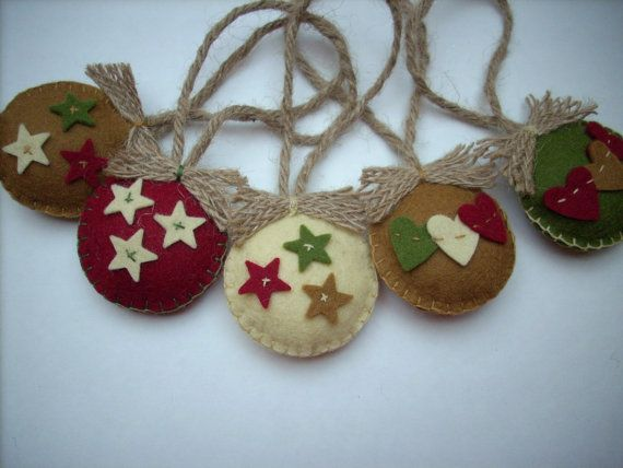 Felted Christmas ornaments Country colors Set of by HandmadebyMGB