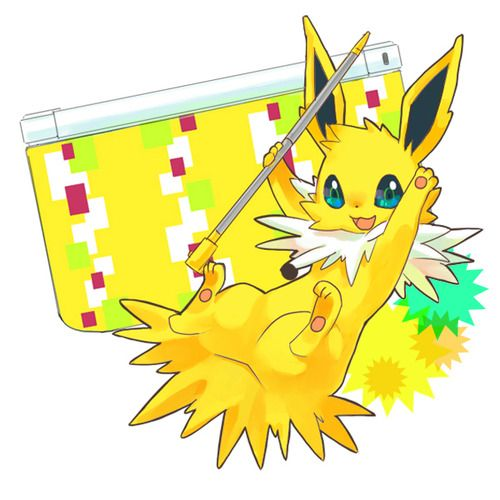 Cute Jolteon and Nintendo DS. #Pokemon #Jolteon