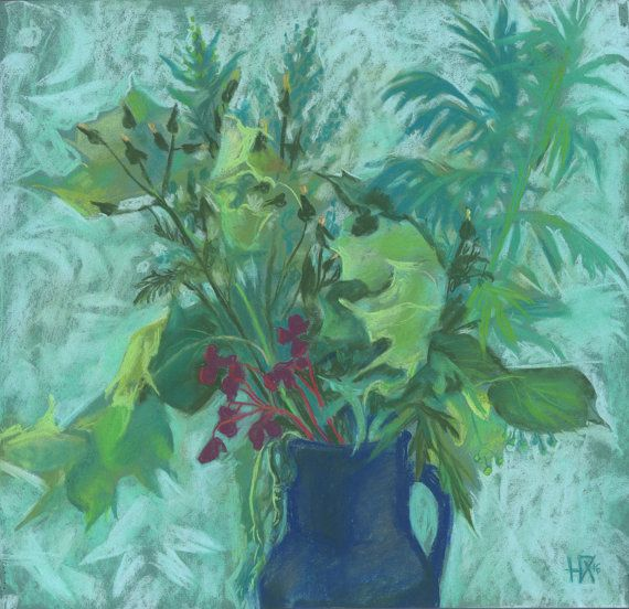 Sonchus and Mugwort summer herbs floral art Original pastel painting by ClipsoCallipso on Etsy