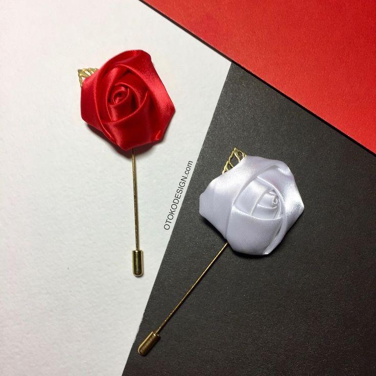 Купить Красная бутоньерка в виде цветка с листиком в интернет магазине аксессуаров OTOKODESIGN