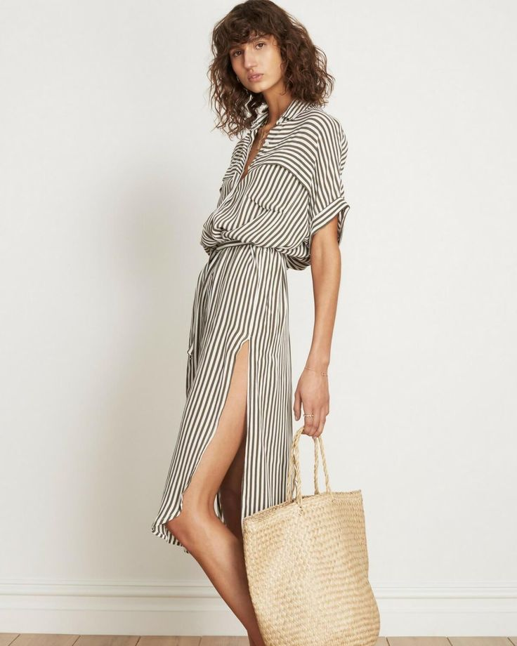 Faithfull has created the Gigi in striped print, which is a handmade shirt dress that can be a day or night look.