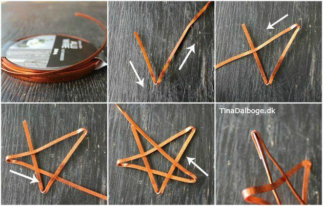 Julepynt - kobberstjerne foldet i blødt, fladt alutråd. Se idéen på Tina Dalbøges blog - og find materialerne i hendes Kreahobshop.dk