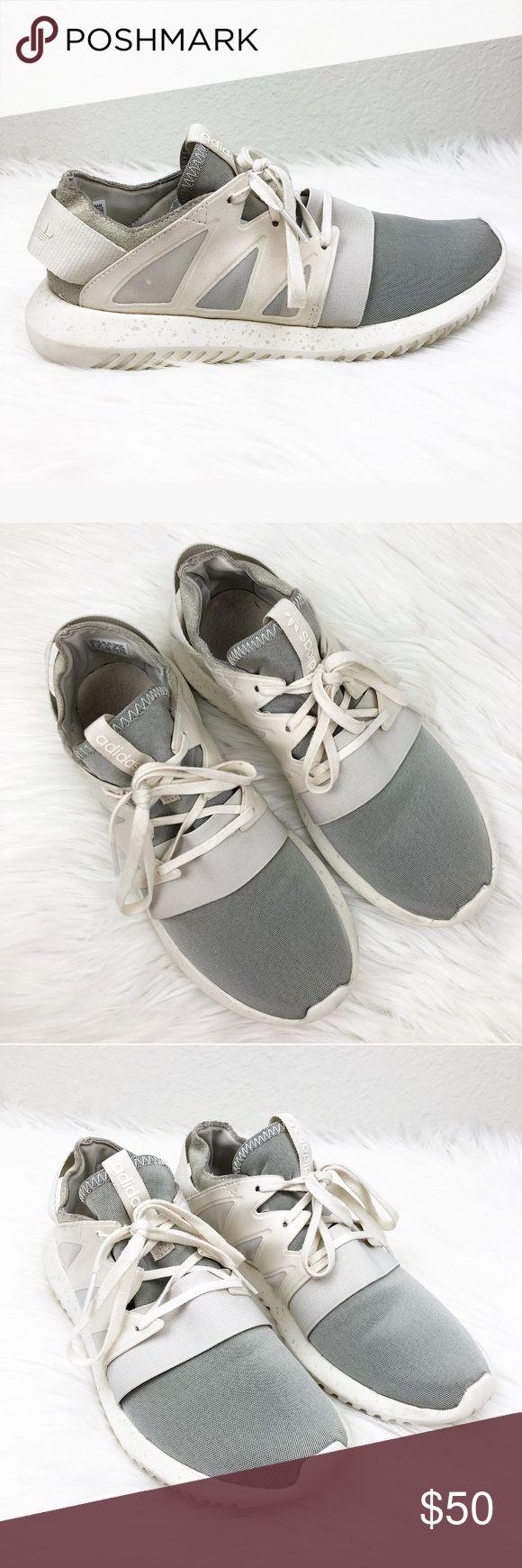 ADIDAS Sz 8 Tubular White Gray Tennis Shoes ADIDAS Tubular  White and gray Look great!! Size 8 adidas Shoes Sneakers