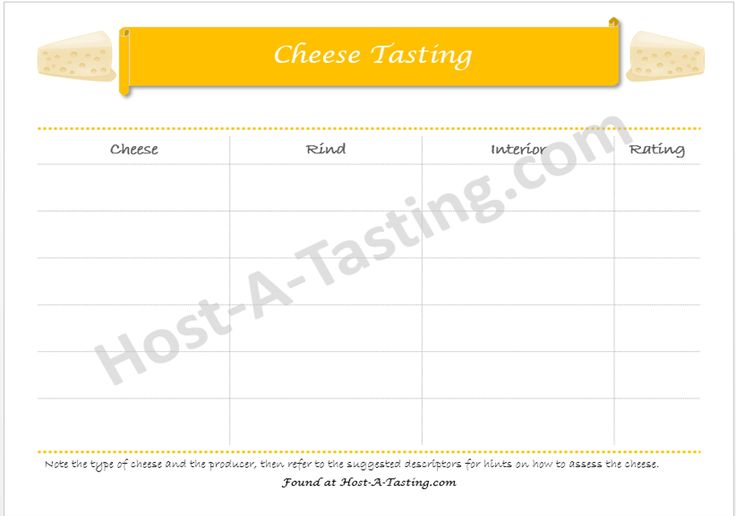 Go beyond the 1-5 scale and evaluate cheese like a fromagier.  Cheese Tasting Notes Sheet.