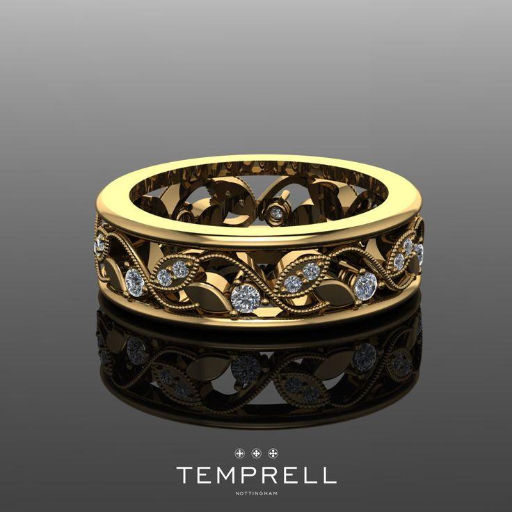 Bespoke 18ct Yellow Gold Filigree Wedding Band With Round Brilliant Cut Diamonds Temprellbespoke