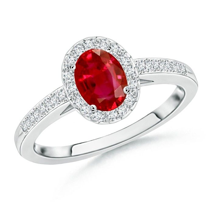 Angara Four Prong Round Ruby Curved Shank Ring in 14k White Gold YRNhXov0b