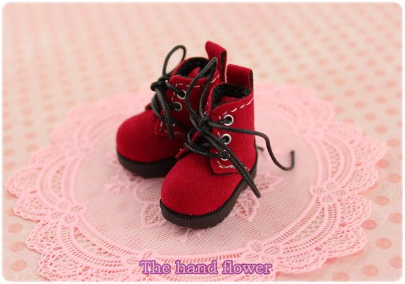 Blythe Pullip Momoko Doll Shoes red Boots Lt.Red. by Thehandflower