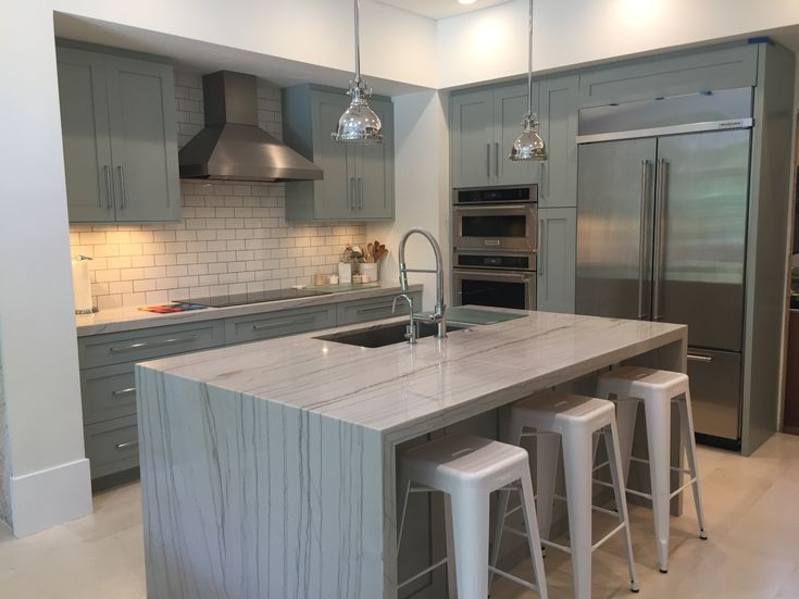 White Macaubas Quartzite countertops  Coral Gables Kitchen  Marmol
