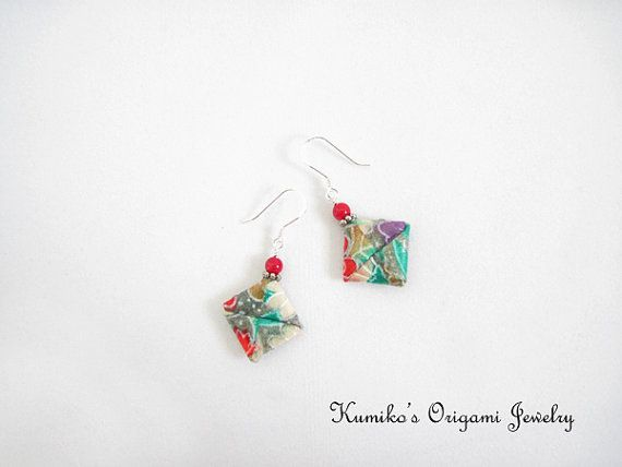 Origami Jewelry - Japanese Origami Square Earrings with ... - photo#20