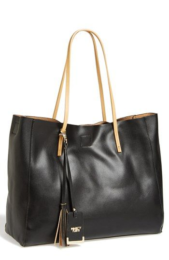 $58, Black Leather Tote Bag: POVERTY FLATS by rian Colorful Faux Leather Shopper Extra Large Black. Sold by Nordstrom. Click for more info: https://lookastic.com/women/shop_items/147054/redirect