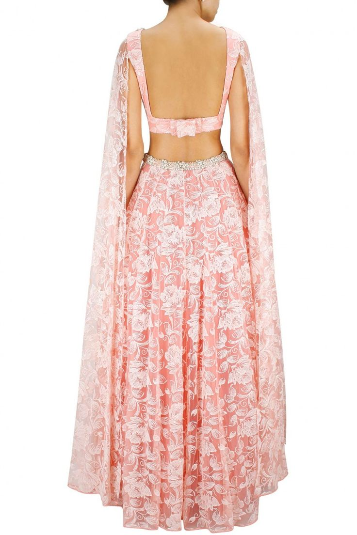 Rose pink bead and pearl embroidered lehenga with floor lehenga blouse available only at Pernia's Pop-Up Shop.