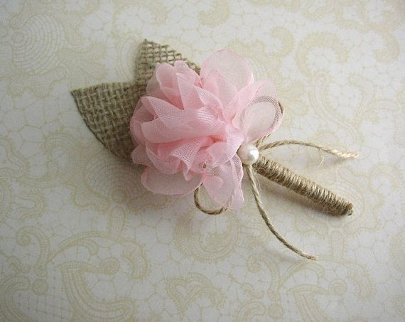 Blush Wedding Boutonniere  Rustic Wedding  Groom by FloroMondo