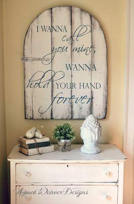 love these art pieces - pallet art, barn board art, word art