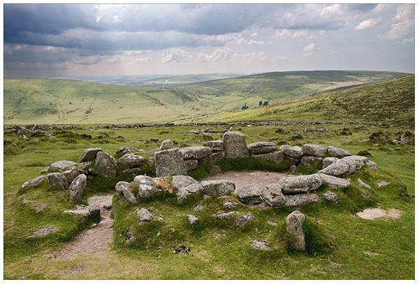 Ancient hut circles, Grimspound, Dartmoor, Devon.