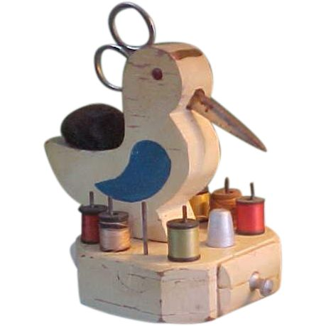 Adorable Vintage Homemade Sewing Bird Sewing Notions Holder