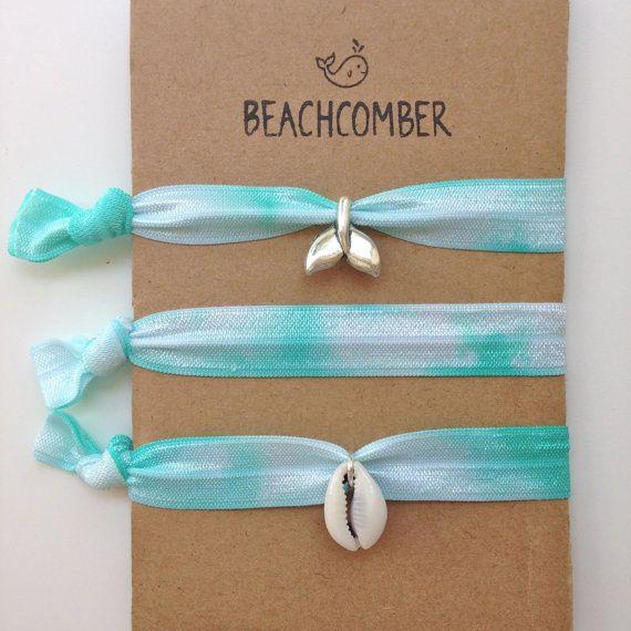 beach bracelets / hair ties shell bracelet by beachcombershop