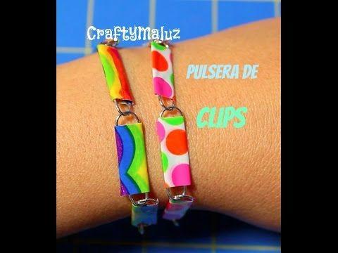 DIY:♥ Pulsera de Clips y Cinta Adhesiva Decorativa- pulsera  fácil y bonita
