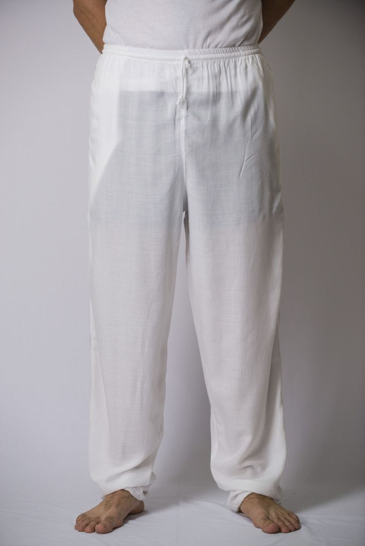 Solid Color Drawstring Mens Yoga Massage Pants In White