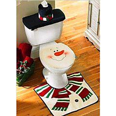 noël toilettes décoration housse de siège de toilette Snowman Santa