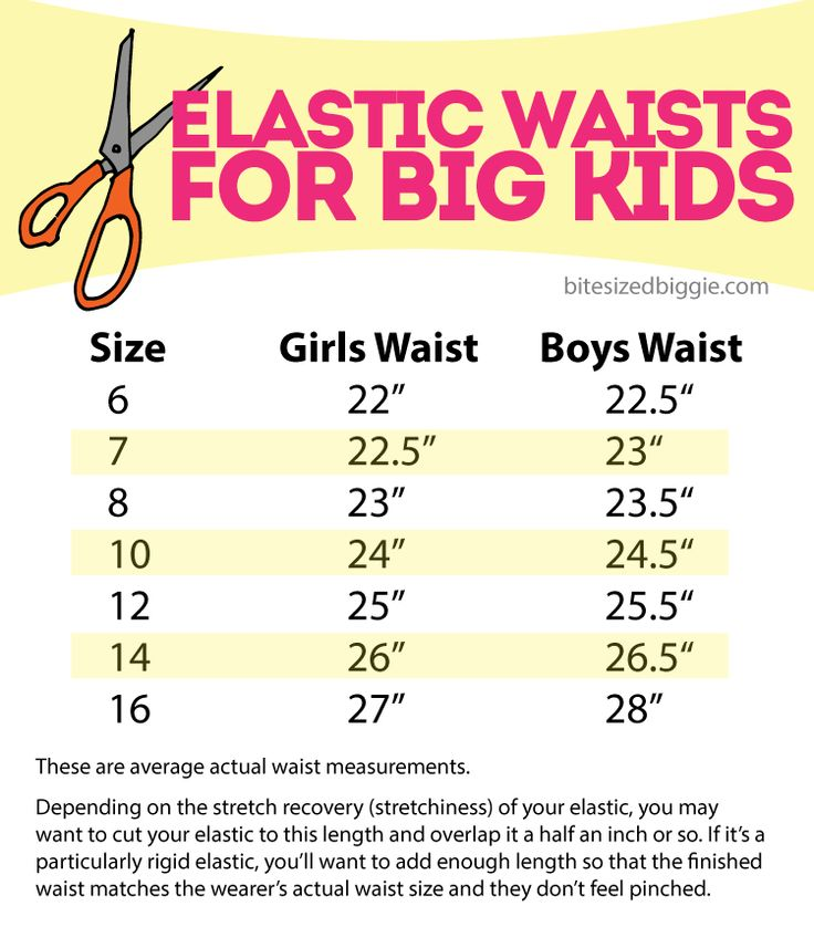 Elastic waist chart for big kids