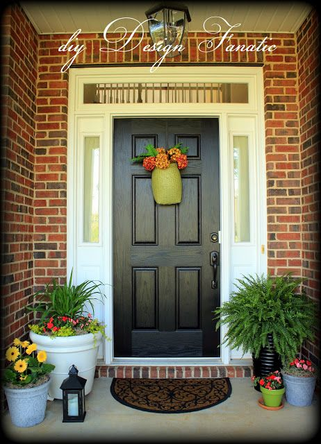 Red brick house with black door google search front - Front door colors for brick houses ...