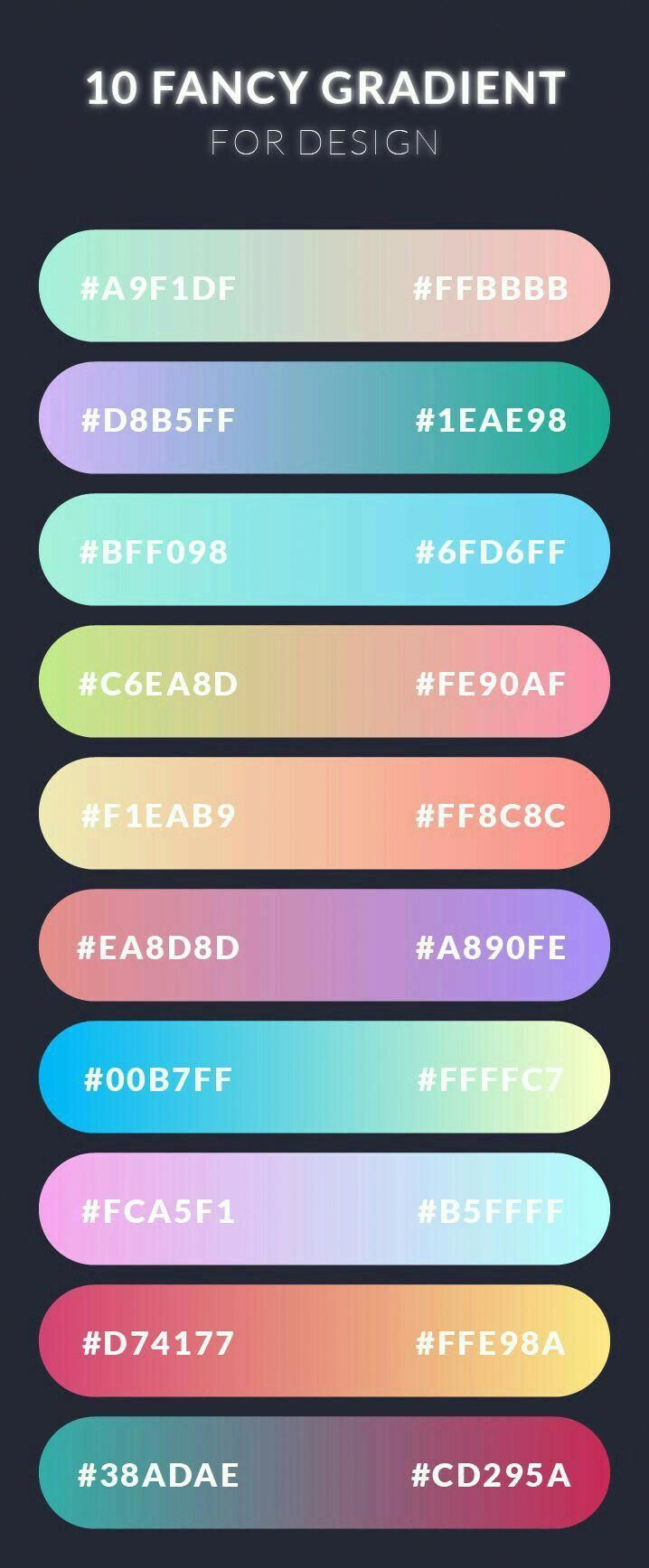 Modern Gradients Infographicsdesign Color Schemes In 2019