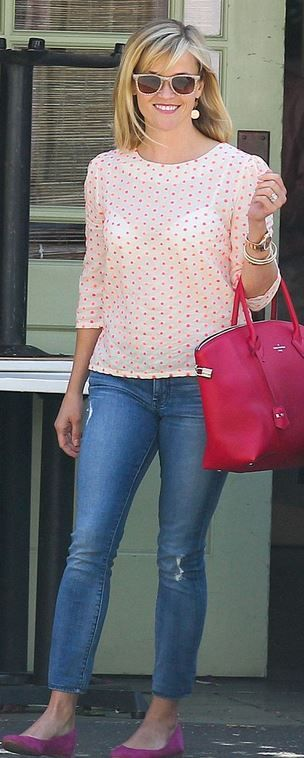 Who made  Reese Witherspoon's hot pink handbag, sunglasses, white polka dot top, and suede ballet flat shoes?