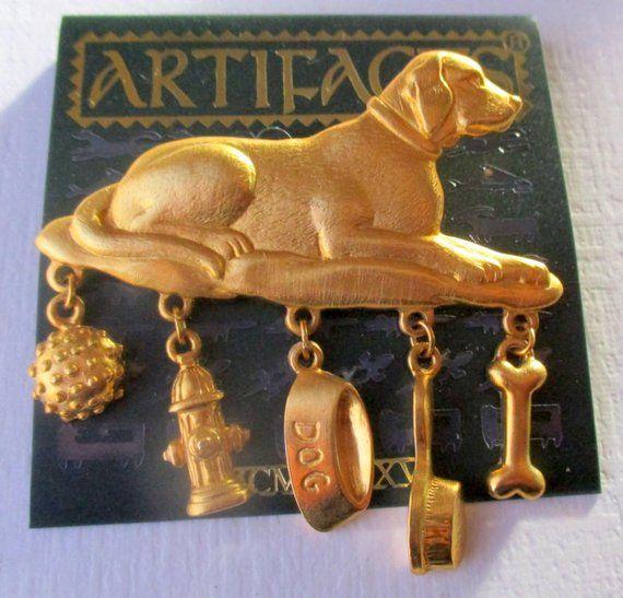 Vintage JJ Jonette Golden Retriever Dog Brooch pin