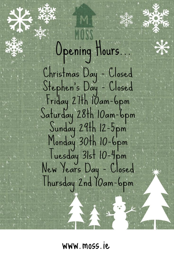 Our Christmas Opening Hours! Have a fantastic Christmas & New Years Jen x :)