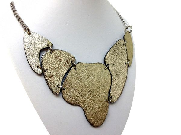 Handmade leather necklace ARMADILLO (gold) (2-in-1)