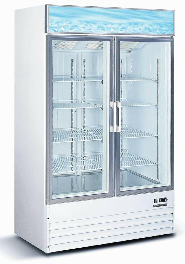 2 Door Glass Freezer In 2020 Ice Merchandiser Double Glass Doors Adjustable Shelving