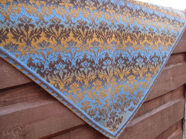 Купить Жаккардовая шаль Чертополох - комбинированный, орнамент, шаль вязаная, шаль ручная работа