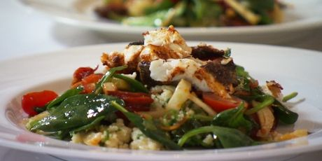 Whole Baked Yellowtail Snapper with Couscous Salad and Chorizo Vinaigrette Recipe