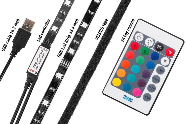 Razon 5V LED Strip, USB light and TV Lighting with VELCRO tape, RGB Color Changing Theater Lighting and TV Backlighting with 24-key Remote and Extension cable 4 pin - http://ratezon.com/product/razon-5v-led-strip-usb-light-tv-lighting-velcro-tape-rgb-color-changing-theater-lighting-tv-backlighting-24-key-remote-extension-cable-4-pin/