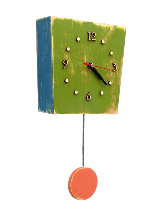 Pendulum wall clock Green by ClockWoodStudio on Etsy