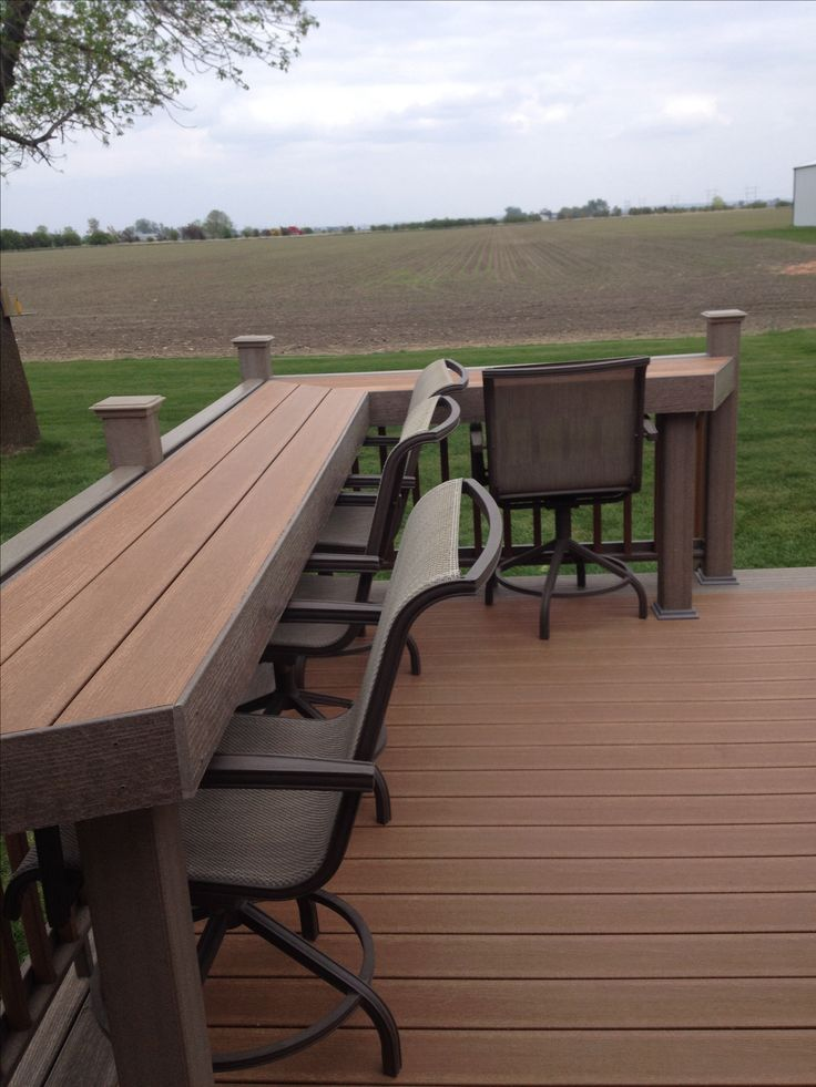 Our new composite deck and it has a bar built in deck for Composite deck railing