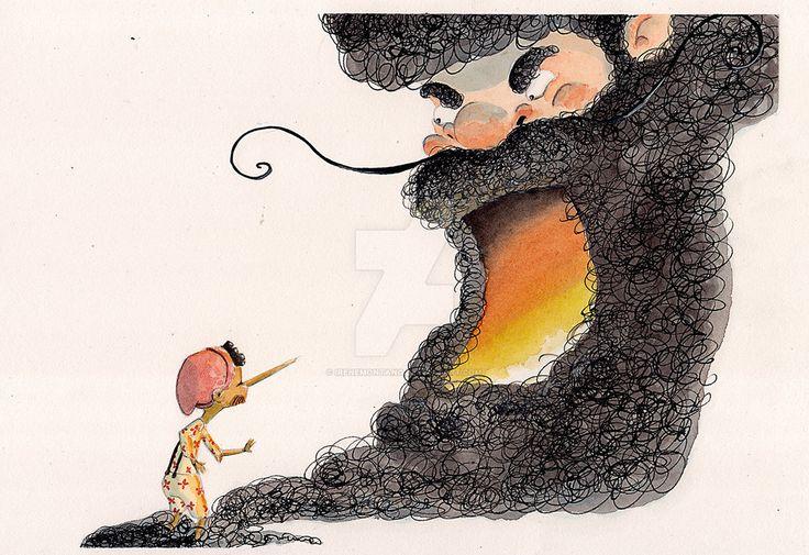 Pinocchio by IreneMontano #beard #mangiafuoco #pinocchio #woodboy #childrenillustration #watercolors