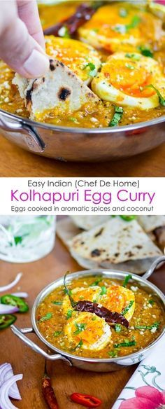 Enjoy Easy Indian Kolhapuri Egg Curry with Homemade Indian Roti for Dinner   http://chefdehome.com