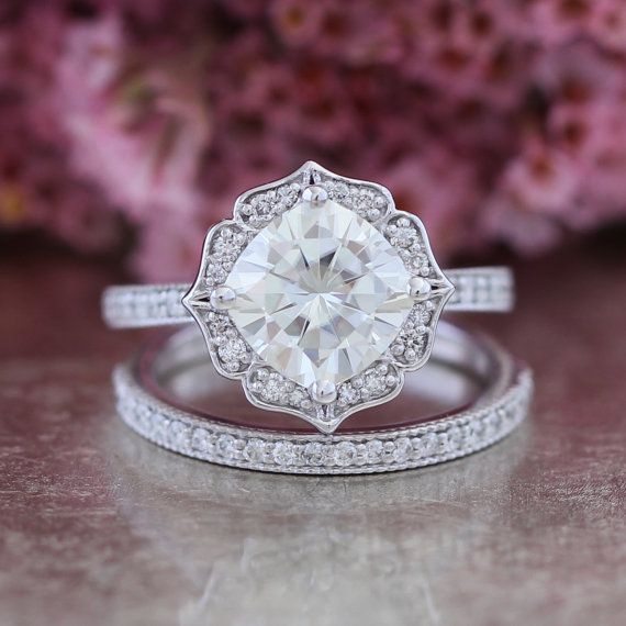 Bridal Set Moissanite Floral Engagement Ring and Half Eternity Diamond Wedding Band 14k White Gold 8x8mm Forever Brilliant Moissanite Ring
