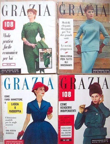 1956 'GRAZIA' LOTTO DI 4 RIVISTE DI MODA COSTUME E SOCIETA'