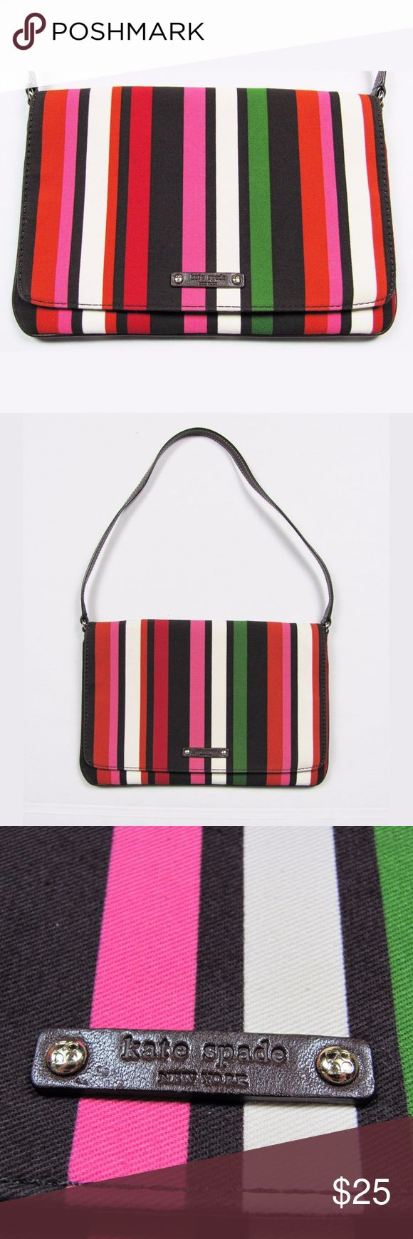 "Kate Spade Multicolor Stripe Shoulder Bag Purse Gorgeous striped bag from Kate Spade NY! This thin shoulder purse is great for holding your essentials for a night out or day on the town. Canvas bag with brown leather detail. Vertical stripes of green, pink, beige, brown, and more. Closes with flap and snap with one inner zipper pocket.   Good/great condition. No damage, minimal wear. One minor spot on back - please see last picture. Not noticeable.  Size: 10.5"" wide, 7"" high, 9.5"" strap…"
