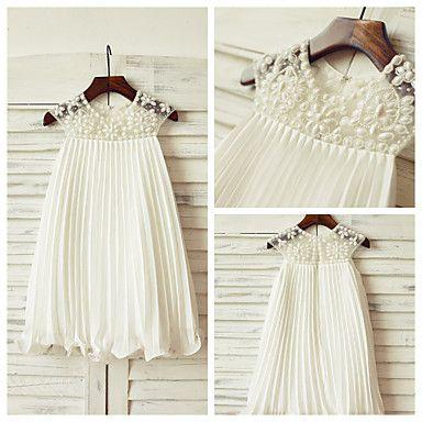 Sheath/Column Knee-length Flower Girl Dress - Chiffon Short Sleeve – USD $ 69.99