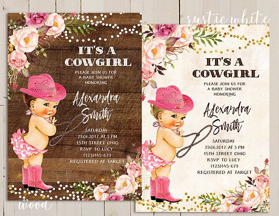 it's a cowgirl invitation, it's a cowgirl baby shower invitation, rodeo baby shower, vintage rustic cowgirl invitation girl, boot invitation