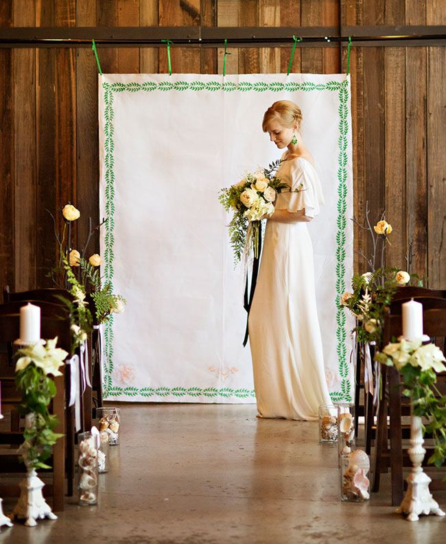 Wedding Altar Backdrops: Emerald Botanical Beach Wedding Inspiration