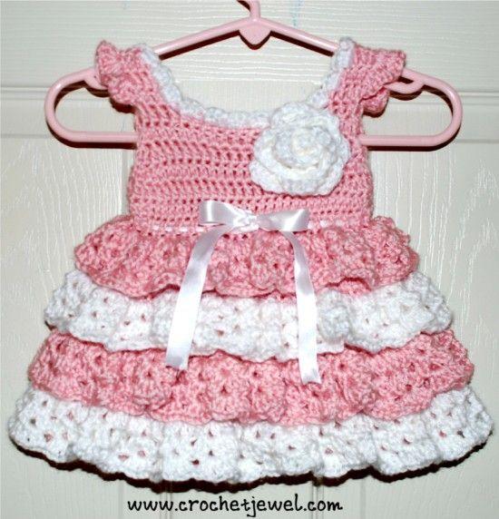 Patrón de vestido de la colmena del bebé libre de ganchillo
