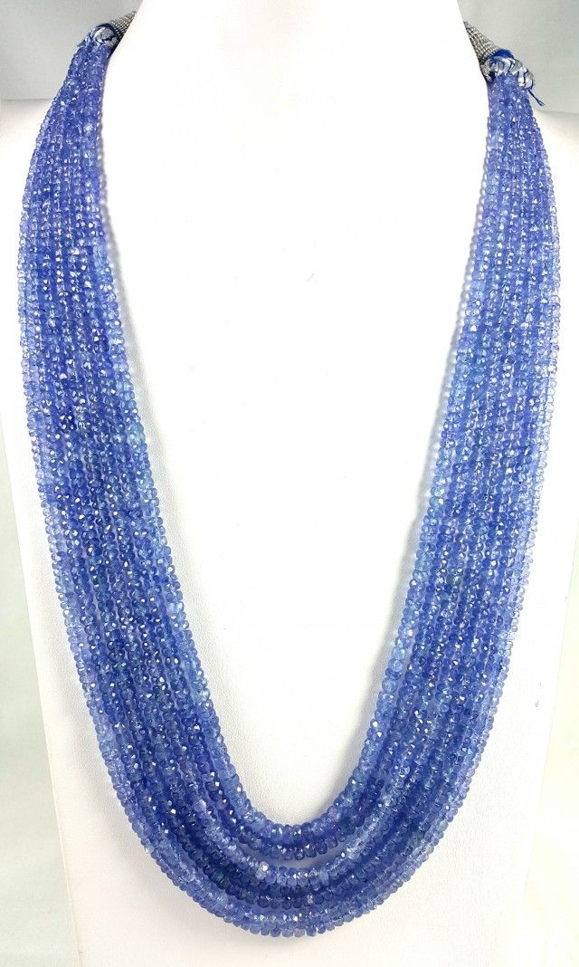 495 CT 7 LINE TANZANITE FACETED BEADS NECKLACE 3X3X2MM FASHIONABLE BEAD NECKLACE