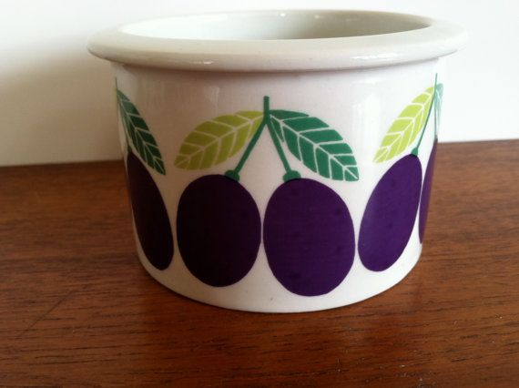 Arabia Pomona Plum Jam Jar Pot by HotCoolVintage on Etsy, sold