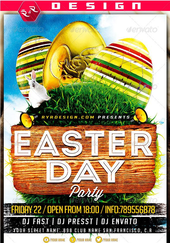 Best  Awesome Easter Party Flyer Template Images On